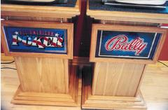 construction, oak stand, birch veneer, slot machine stand, antique slots, mechanical slots, california antique slots